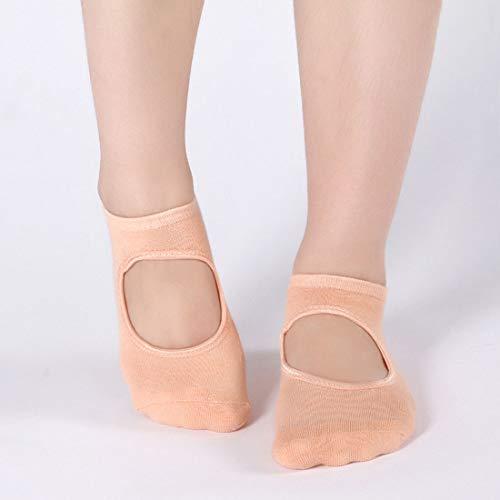 YAOSHIBIAN-Socks Baumwolle rutschfest zurück gegraben Mund weiblich atmungsaktiv 2 Paare/Paket Yoga-Socken Lässig Bequem (Farbe : Skin) - Skin-paket