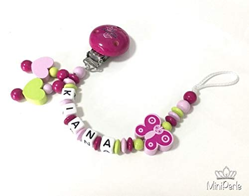 Schnullerkette mit Namen - Mädchen - viele Modelle - viele Farben - personalisiert - Häkelperle - Tiere - Motive - Prinzessin (pink, grün, rosa, Schmetterling, Prinzessin, Herz, D008)