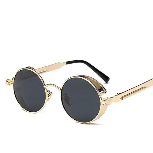 Polarisierte Motorradbrille Steampunk Retro Sonnenbrille Runde Moto Brille Flieger Biker Reiten Fahren Eyewear