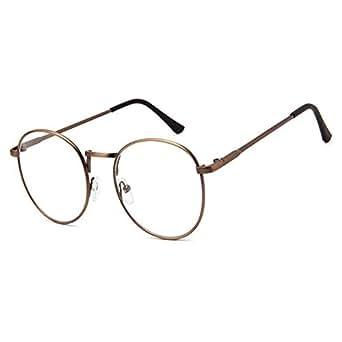 Retro Runde Metall Rahmen Brille Klare Linse Feder Scharnier Brille Damen Herren FcHSVdUc53