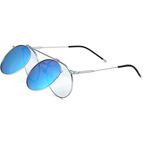 Yuany Sonnenbrille Double Flip Prince Hip Hop Brille Retro Persönlichkeit Kleine runde Fassung Myopia Polarisierte Sonnenbrille