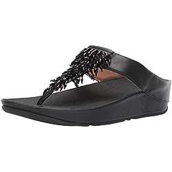 Fitflop Rumba Toe-Thong, Sandales Bout Ouvert Femme, Noir (Black 001), 38 EU