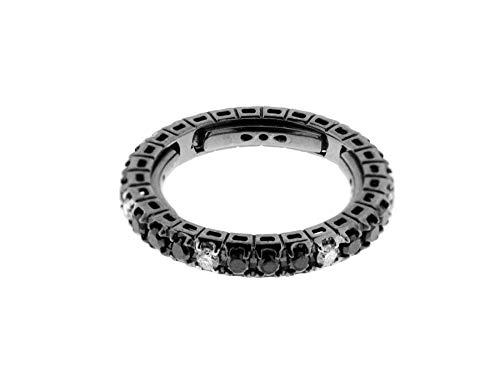 Anello fedina a giro in oro nero 18 k e diamanti neri 0,70 ct e diamanti bianchi spot 0,20 ct