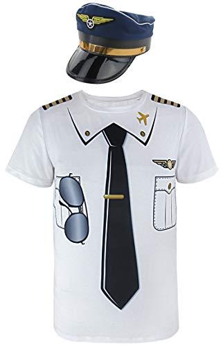 (Cosavorock Herren Pilot Kostüm T-Shirts mit Pilot Hüte (XL, Dunkelblau))