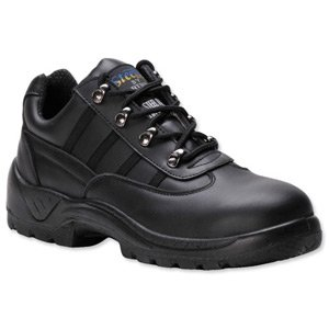 Portwest S1P Trainer Shoes Steel Midsole Buffalo Leather Chemical-resist Black Size 12 Ref FW25SIZE12