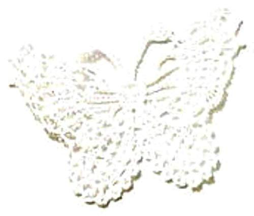 dojore 10Stück Spitze Stoff Schmetterlinge Applikationen. Verschiedene Farben erhältlich. 5,5cm x 6,5cm. Tatted Animal Sew On Patches. Verzierungen für Kleidung, weiß, 5.5cm x 6.5cm -