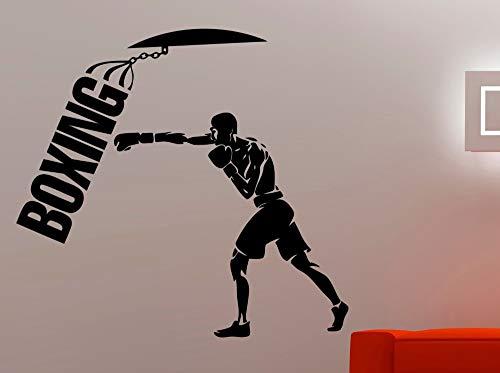 Boxtraining Wandaufkleber Für Jungen Room Interior Sport Kampf Wandtattoo Gym Fitness Decor Moderne Box Logo Kunst DIY 84 * 92 cm (Kämpfen Doll)