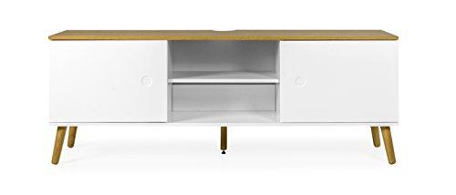 tenzo 2962-450 ACE Designer Banc TV 2 Portes, Blanc/Chêne, Structure en Panneaux de Particules et MDF laqués, Weiss/Natur, 60 x 162 x 43 cm (HxLxP)