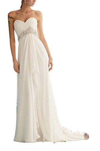 GEORGE BRIDE hohe Taille Chiffon mit Strass-Steinen Abendkleid Weiß