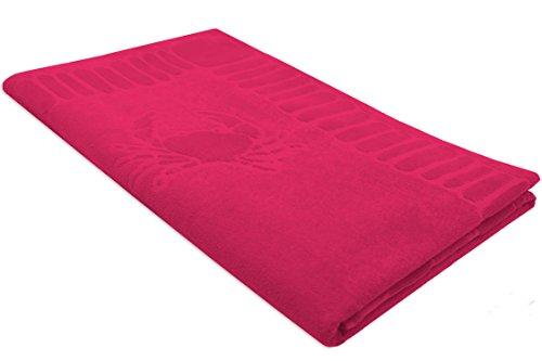ZOLLNER hochwertiges Strandlaken / Strandtuch / Badetuch mit Meerestiermuster 100x200 cm pink aus 100% Baumwolle, in weiteren Farben...