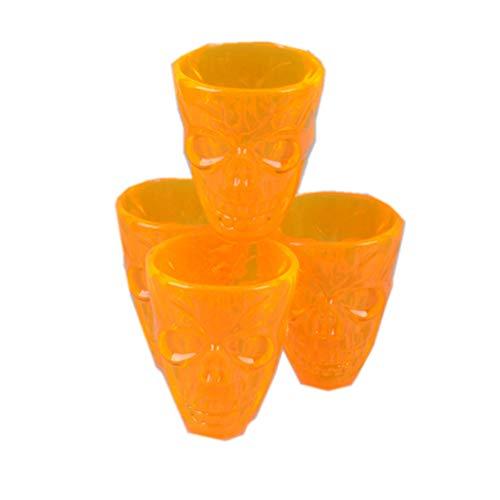OMUUTR 4Stück Becher Trinkbecher Plastikbecher Plastik Kunststoffbecher Kürbis gelb 3D Totenkopfdesign Party Halloween Erntedankfest Kreatives Design Unzerbrechlich