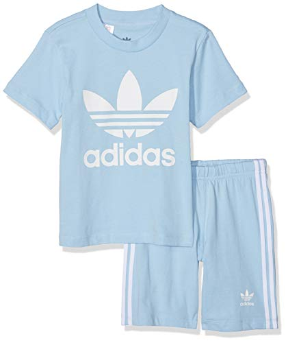 adidas Baby Trefoil Shorts Und T-Shirt Set, Top:Clear Bottom:Clear Sky/White, 86