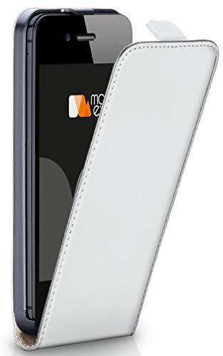 moex® Flip Case mit Magnetverschluss [Rundum-Schutz] passend für iPhone 5S / 5 / iPhone SE   360° Handycover aus feinem Premium Kunst-Leder, Weiß Flip Leder Hard Case