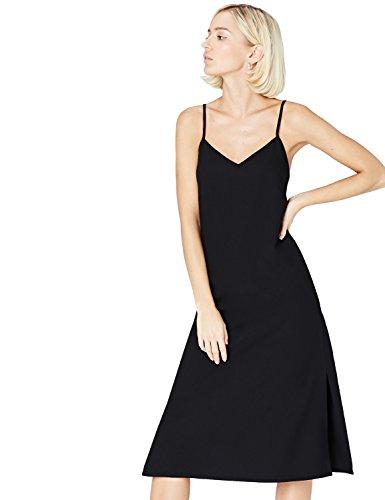 FIND Kleid Damen Slipdress mit Spaghettiträgern, Schwarz (Black), 38 (Herstellergröße: Medium)