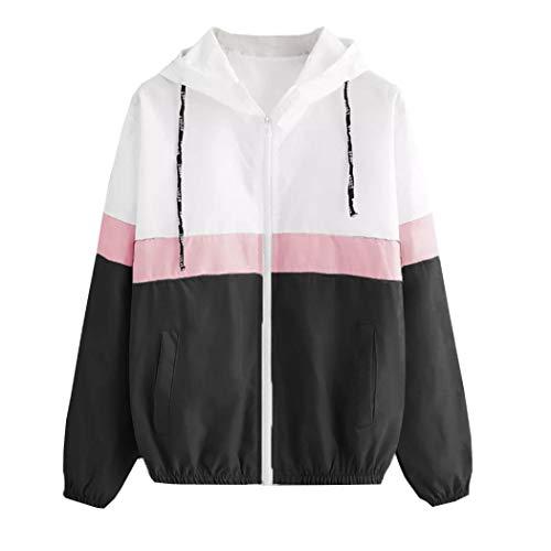 VEMOW Herbst Winter Damen Frauen Langarm Patchwork Dünne Skins Suits mit Kapuze Reißverschluss Taschen Casual Täglichen Freien Sport Mantel(X2-Schwarz, 38 DE/S CN)