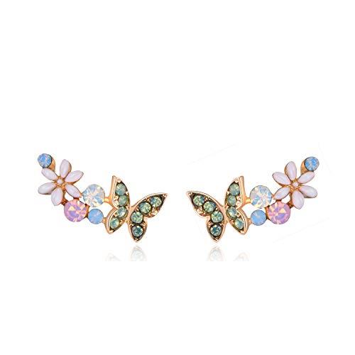 lber Ohrnadel Klar AB Österreichischen Kristall Schmetterling Kletterer Ohrklemmen Ohr Vine Wrap Golden Ohrringe Für Frauen Mädchen ()