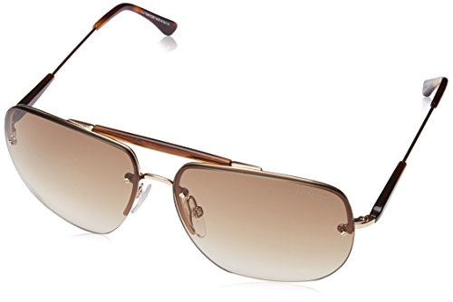 Tom Ford Herren FT0380 28F 61 Sonnenbrille, Gold (ORO Rosa Lucido/Marrone Grad)