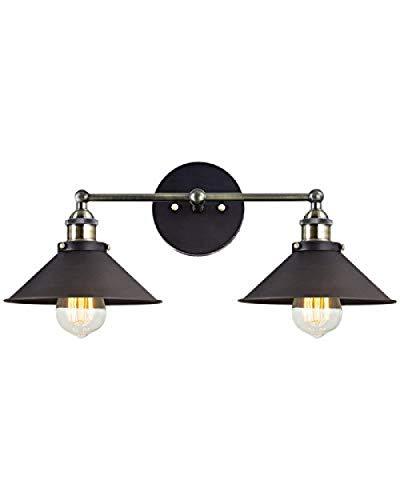2-Licht UL Hardwire Industrie Vintage Wand Lampe Leuchte Arm Swing Wandleuchten (Bronze ohne Glühbirnen) (Swing Arm Wand Lampe Bronze)