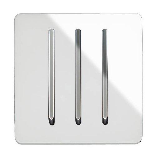 Trendi - Interruptor de luz artística Moderna, Brillante, 3 Canales, 1 vía,...