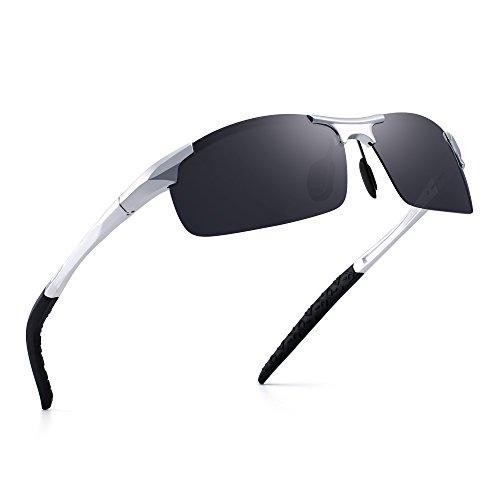 JIM HALO Sport Polarisiert Al-Mg Sonnenbrille Metall Federscharnier Angeln Radfahren Brillen Herren(Silber/Polarisiertes Grau)