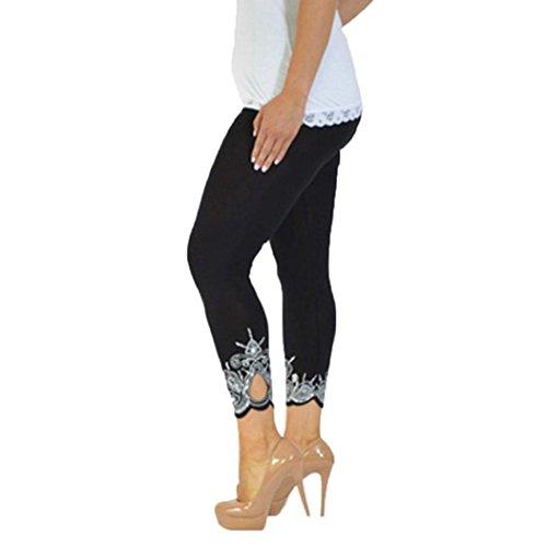 Sport Yoga Hose BakeLIN Damen Große Größen Sexy Mode Drucken Leggings Lang Tight Running Pant (S~5XL) (3XL, Schwarz)