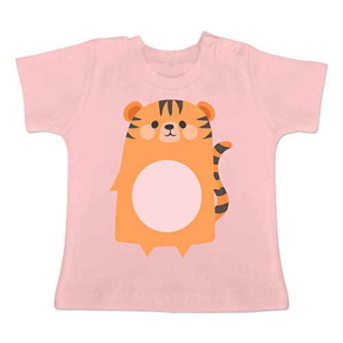 Karneval und Fasching Baby - Kostüm Fasching Tiger - 1-3 Monate - Babyrosa - BZ02 - Baby T-Shirt Kurzarm (Tiger Baby Kostüm)