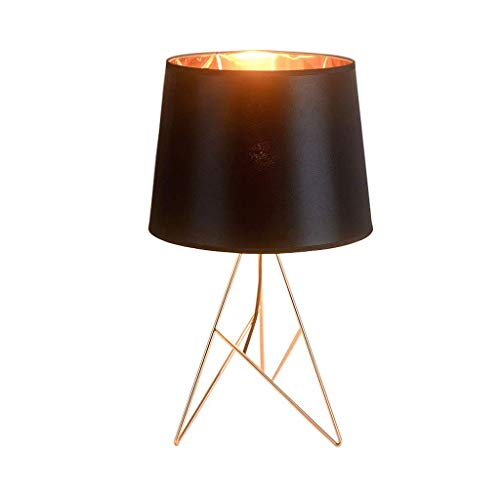 Lampes de table en fer postmodernes, Nordic LED, éclairage noir/blanc, lampe de table de chevet, salon minimaliste moderne, étude, lecture, bureau, lumière (Color : Noir)