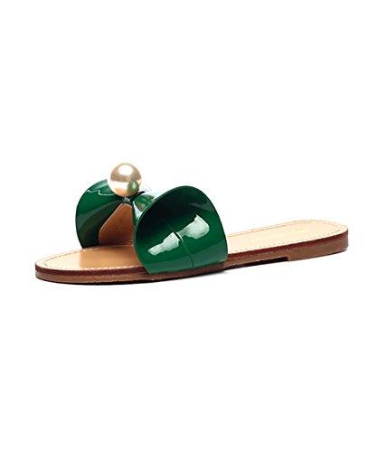 CHAOXIANG Pantofole Da Donna Antiscivolo Con tacco Ciabatte Piatte Sandali Da Surf Nuova Estate Ciabatte Spiaggia ( Colore : Rosa , dimensioni : EU36/UK4-4.5/CN37 ) Verde