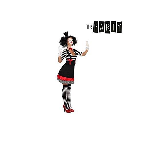 Generique - Mime Kostüm für Damen schwarz-rot-weiß XXL