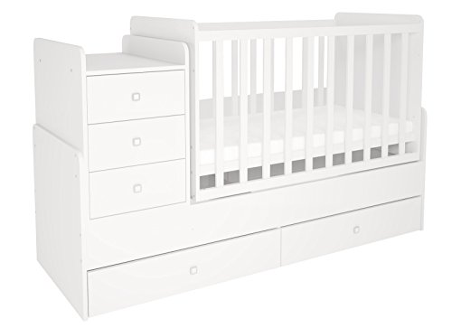 Polini Kids Simple Cot Bed with Drawer Unit, Number 1100, White