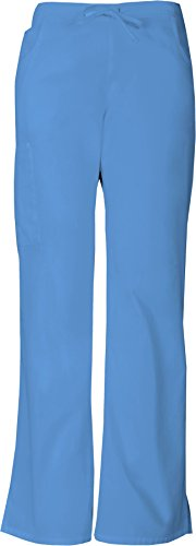 Dickies Women's EDS Signature Mid Rise Drawstring Cargo Pant, CIEL Blue, XX-Small Petite (In Der Kordelzug Taille-scrub-hose)