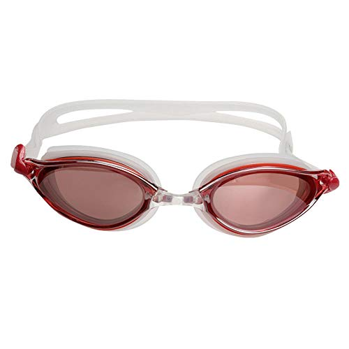 Waterproof and anti-fog swimming goggles Streamlined design swimming goggles without leakage and anti-fog advanced anti-UV 180 degree vision and soft silicone nose bridge waterproof and anti-fog@red
