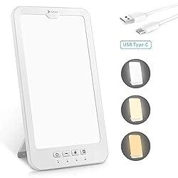 Tageslichtlampe 10000 lux, Hosome USB Typ-C 4 Timer mit Memoryfunktion Lichttherapielampe gegen Depressionen, 3 Lichtfarben Lichtdusche Lichtintensität einstellbar, LED Sonnenlicht