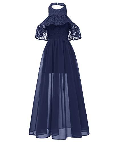 Damen Neckholder Floral Spitze Brautjungfernkleid Ärmellos Cocktail Party Kleid Lang Dress Noos,...