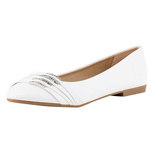 SCARPE VITA Klassische Damen Ballerinas Strass Flats Modische Schuhe 160372 Weiss Strass 38 (Weiße Flat Ballet)
