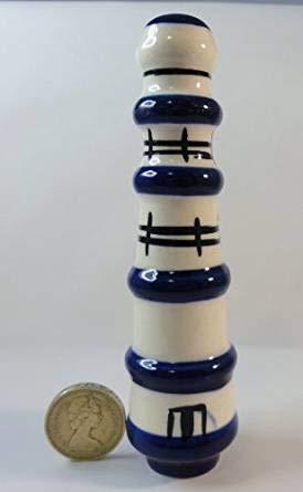 Keramik-Griff für Kordel der Badezimmer-Beleuchtung, Leuchtturm blau-weiß -