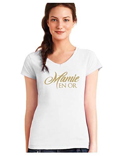 Mamie en Or ! Fete des Grand Meres Cadeau Grand Mere T-Shirt Femme col V