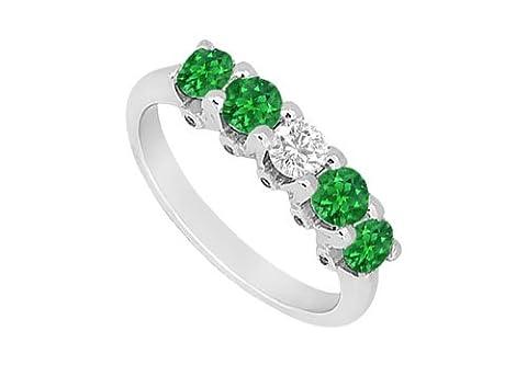 Emerald and Diamond Wedding Band 14K White Gold 1.55 CT TGW
