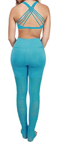 Topgraph Damen Yoga BH Sport Fitness BH Cross Back Cool Blue-Top
