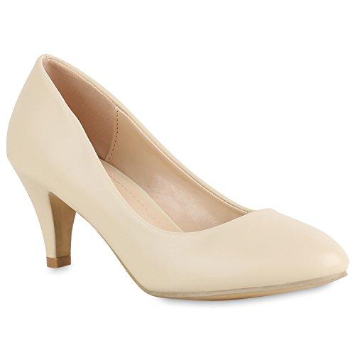 Klassische Damen Pumps Basic Leder-Optik Schuhe Stiletto Mid Heels 154324 Creme 41 Flandell