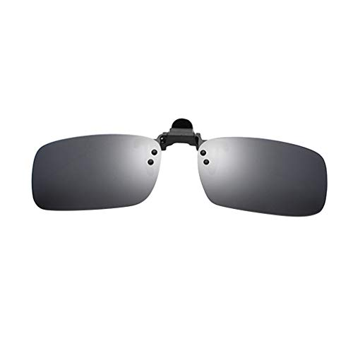 Clacce Brille Clip, Sonnenbrille Aufsatz Clip on Polarisiert Flip up Sunglasses gegen Licht ideal für Nachtfahr Frauen Männer Unisex Brillenträger (Freie Größe, Schwarz B)