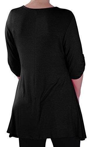 Eyecatch - Stella Aux Femmes À Encolure Dégagée Tunique Grande Taille Dames T-Shirt Chemisier Noir