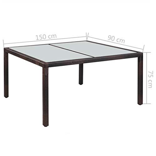 Festnight Garten-Esstisch | Gartentisch | Terassentisch | Rattan Tisch | Braun Poly Rattan und Glas 150 x 90 x 75 cm