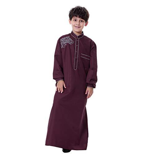 feiXIANG Jungenbekleidung Kinder Dubai-Robe für Jungen Kids Musselin Nationalität solide Musselin Outfits Shirtkleid ()