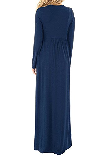 Le Donne Inverno Casual Manica Lunga Festa Beachwear Swing Shift - Vestito Navy