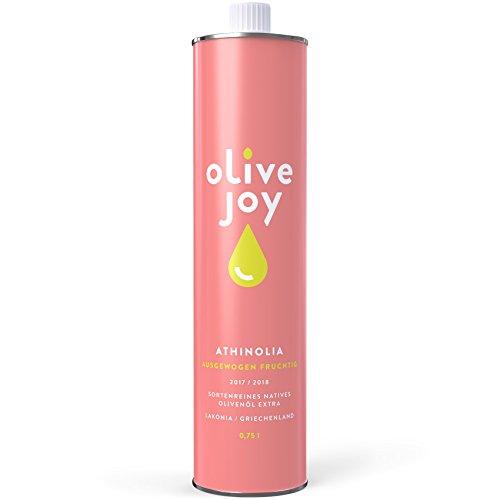 Premium Olivenöl extra olive joy | Reines Olivenöl aus griechischen ATHINOLIA Oliven | Leicht Pikant | 0,75l Olivenöl Flasche | Ideal für Paleo Diät