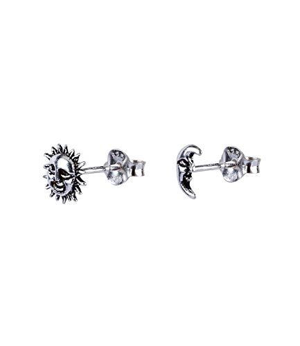 SIX Damen Ohrringe aus 925er Silber, Ohrstecker im Festival Look, Stecker in Form von Mond und Sonne in silberfarben (773-934)