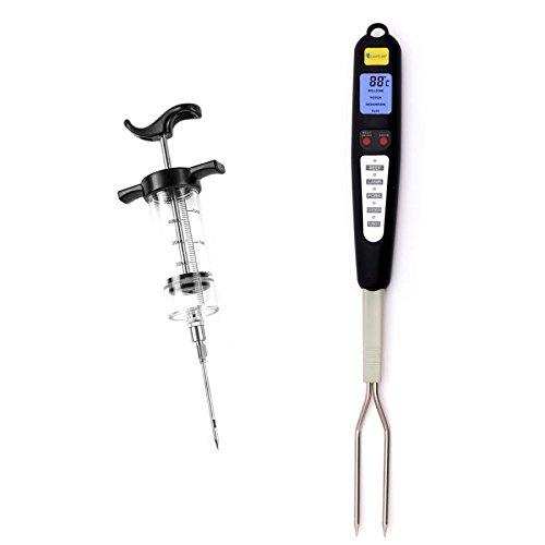 Lantelme 6035 Grillbedarf Set Braten - Gabel Thermometer Digital mit Voreingestellten Garstufen und Marinadenspritze
