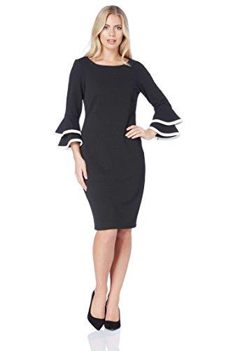 Roman Originals Damen Shift-Kleid mit Manschettenvolants in Schwarz 38-48 - Schwarz - Größe 46