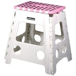 Unbekannt Faltbarer Tritt Hocker MISS DAISY XL - pink/weiss